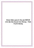 Hoàn thiện quản lý thu qĩu BHXH trên địa bàn huyện Sơn Dương - Tỉnh Tuyên Quang
