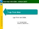 Lập Trình Web: Lập Trình với CSDL - GV: Trần Đình Nghĩa