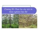 Bài giảng giống cây rừng : Chọn lọc cây trội và khảo nghiệm hậu thế part 1