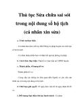 Thủ tục Sửa chữa sai sót trong nội dung sổ hộ tịch (cá nhân xin sửa)