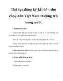 Thủ tục đăng ký kết hôn cho công dân Việt Nam thường trú trong nước