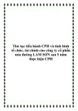 Thủ tục tiến hành CPH và tình hình tổ chức, tài chính của công ty cổ phần mía đường LAM SƠN sau 5 năm thực hiện CPH