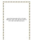 """ĐỀ TÀI """"CHI NGÂN SÁCH NHÀ NƯỚC VỚI THỰC HIỆN MỤC TIÊU TĂNG TRƯỞNG KINH TẾ CỦA VIỆT NAM THỜI GIAN QUA"""""""