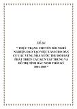 """Đề tài """" THỰC TRẠNG CHUYỂN ĐỔI NGHỀ NGHIỆP, ĐÀO TẠO VIỆC LÀM CHO DÂN CƯ CÁC VÙNG NHÀ NƯỚC THU HỒI ĐẤT PHÁT TRIỂN CÁC KCN TẬP TRUNG VÀ ĐÔ THỊ TỈNH BẮC NINH THỜI KỲ 2001-2005 """""""