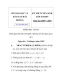 Đề chính thức Kỳ thi tuyển sinh lớp 10 trung học phổ thông tỉnh Hải Phòng môn toán năm 2009 - 2010