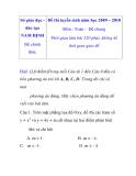 Đề thi tuyển sinh vào lớp 10 môn toán năm học 2009 – 2010 tỉnh Nam Định