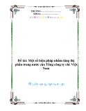 Đề tài: Một số biện pháp nhằm tăng thị phần trong nước của Tổng công ty chè Việt Nam