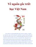 Về nguồn gốc triết học Việt Nam