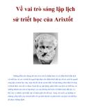 Về vai trò sáng lập lịch sử triết học của Arixtốt