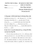 ĐỀ KHẢO SÁT HỌC SINH GIỎI CẤP TRƯỜNG Môn: Tiếng Anh lớp 6