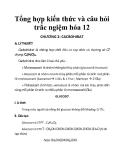 Tổng hợp kiến thức và câu hỏi trắc ngiệm hóa 12 CHƯƠNG 2