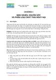 Giáo trình chất thải nguy hai : ĐỊNH NGHĨA, NGUỒN GỐC VÀ PHÂN LOẠI CHẤT THẢI NGUY HẠI part 1