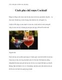Giáo trình quản trị khách sạn, nhà hàng - Cách pha chế rượu Cocktail