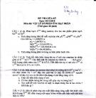 Đề thi môn vật lý lò phản ứng hạt nhân - đề 3