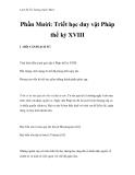 Lịch Sử Tư Tưởng trước Marx - Phần Mười: Triết học duy vật Pháp thế kỷ XVIII