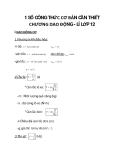 1 SỐ CÔNG THỨC CƠ BẢN CẦN THIẾT CHƯƠNG DAO ĐỘNG - LÍ LỚP 12 phần 1