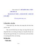 Giáo án đại số 12: ĐỀ KIỂM TRA 1 TIẾT CHƯƠNG II HÀM SỐ LUỸ THỪA – HÀM SỐ MŨ – HÀM SỐ LOGARIT (Chương trình nâng cao)