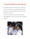 5 bí quyết để đạt điểm cao môn Tiếng Anh