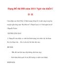 Dạng Đề thi ĐH năm 2011 Ngữ văn khối C D H
