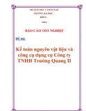 """Chuyên đề tốt nghiệp :""""Kế toán nguyên vật liệu và công cụ dụng cụ Công ty TNHH Trường Quang II"""""""