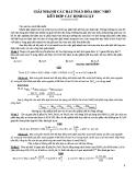 Giải nhanh các bài toán hoá học nhờ kết hợp các định luật