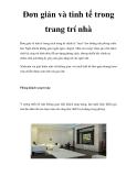 Đơn giản và tinh tế trong trang trí nhà