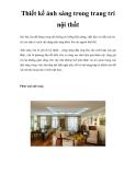 Thiết kế ánh sáng trong trang trí nội thất
