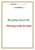 Bìa giảng chuyên đề: Phương trình đa thức