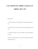 CÁC CHỈ SỐ SỨC KHỎE VÀ QUẢN LÝ THÔNG TIN Y TẾ