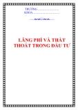 LÃNG PHÍ VÀ THẤT THOÁT TRONG ĐẦU TƯ