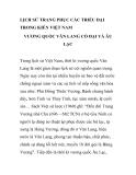 LỊCH SỬ TRANG PHỤC CÁC TRIỀU ĐẠI TRONG KIẾN VIỆT NAM VƯƠNG QUỐC VĂN LANG CỔ ĐẠI VÀ ÂU LẠC - PHẦN 1