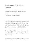 Lược sử ngoại giao VN các thời trước - Chương tám: NGOẠI GIAO THỜI LÊ - TRỊNH NGUYỄN
