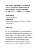 """BÁO CÁO KHOA HỌC: """"THIẾT KẾ VECTOR BIỂU HIỆN YẾU TỐ TĂNG TRƯỞNG NGUYÊN BÀO SỢI 10 CỦA NGƯỜI (HFGF-10 -HUMAN FIBROBLAST ROWTH FACTOR -10) Ở TẾ BÀO ĐỘNG VẬT BẬC CAO"""""""