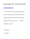 Business English Lesson – Advanced Level's archiveCorporate Credit Cards