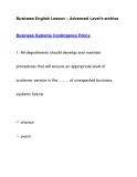Business English Lesson – Advanced Level's archiveBusiness Systems Contingency Policy