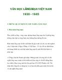 VĂN HỌC LÃNG MẠN VIỆT NAM 1930 - 1945