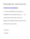 Business English Lesson – Advanced Level's archiveInformation Services Management
