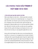CÁC PHONG TRÀO ĐẤU TRANH Ở VIỆT NAM 1919-1925_1ế giới sau chiến