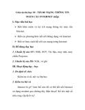 Giáo án tin học 10 - Tiết 60: MẠNG THÔNG TIN TOÀN CẦU INTERNET (tiếp)