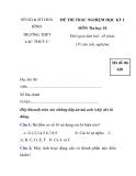 ĐỀ THI TRẮC NGHIỆM HỌC KỲ I MÔN Tin học 10 - đề 1