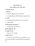 Giáo án tin học 10 - Tiết 2: THÔNG TIN VÀ DỮ LIỆU