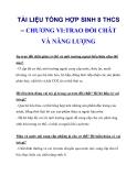 TÀI LIỆU TỔNG HỢP SINH 8 THCS – CHƯƠNG VI:TRAO ĐỔI CHÂT VÀ NĂNG LƯỢNG