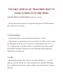 TÀI LIỆU SINH 10: SỰ TRAO ĐỔI CHẤT VÀ NĂNG LƯỢNG Ở CƠ THỂ SỐNGNGUYÊN PHÂN
