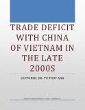 Thâm hụt thương mại của Việt Nam với Trung Quốc từ năm 2007-2010