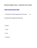 Business English Lesson – Advanced Level's archiveVerbal Communication Skills