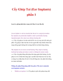Cấy Ghép Tai (Ear Implants) phần 1