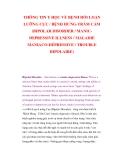 THÔNG TIN Y HỌC VỀ BỆNH RỐI LOẠN LƯỠNG CỰC / BỆNH HƯNG-TRẦM CẢM (BIPOLAR DISORDER / MANICDEPRESSIVE ILLNESS / MALADIE MANIACO-DÉPRESSIVE / TROUBLE BIPOLAIRE)