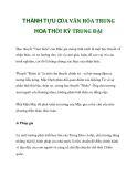 THÀNH TỰU CỦA VĂN HÓA TRUNG HOA THỜI KỲ TRUNG ĐẠIHọc thuyết