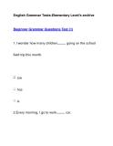 English Grammar Tests-Elementary Level's archiveBeginner Grammar Questions Test (1)