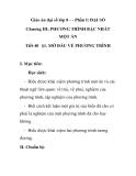 Giáo án đại số lớp 8 - MỞ ĐẦU VỀ PHƯƠNG TRÌNH